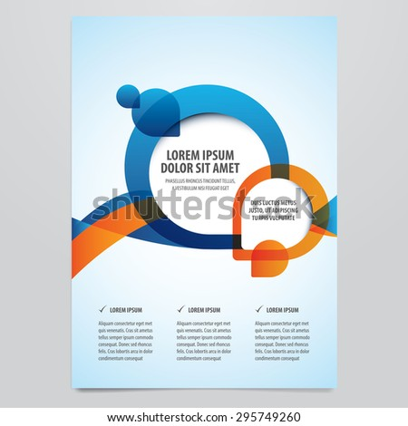 Vector business brochure, flyer template. Modern orange and blue corporate design. - stock vector