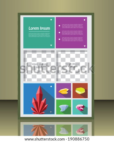 Vector  business brochure or magazine cover  template with gems.  image placeholder - stock vector