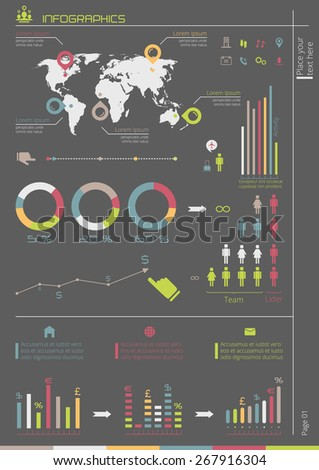 Vector business brochure template with Infographic elements, world map and UI elements. Flyer layout. Can be used for corporate report, presentation, advertising, marketing, web design etc.