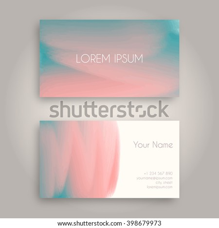 Vector Business Card Design Template With Abstract Oil Painting Texture Hand Drawn Paint Brush Background
