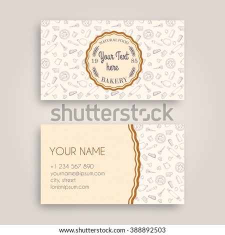 Vector business card design template doodle stock vector 388892503 vector business card design template with doodle bakery hand drawn pattern and vintage bakery emblem reheart Gallery