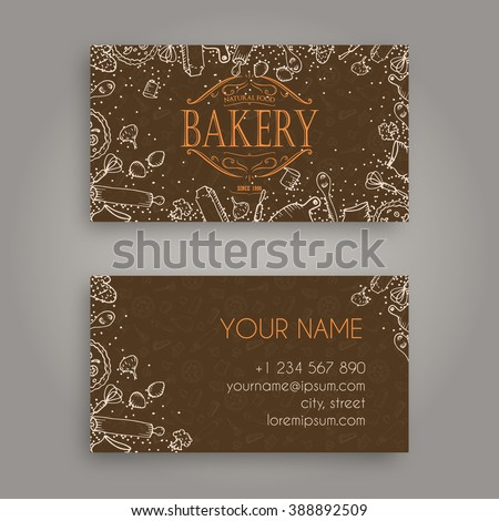 Vector business card design template doodle stock vector royalty vector business card design template with doodle bakery hand drawn pattern and vintage bakery emblem reheart Gallery