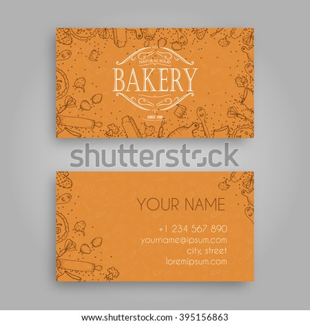 Vector business card design template doodle stock vector 395156863 vector business card design template with doodle bakery hand drawn pattern and vintage bakery emblem reheart Gallery