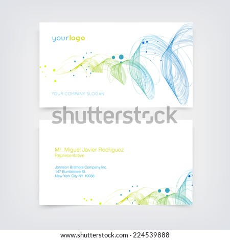 Vector business card design template with dynamic curly wave background