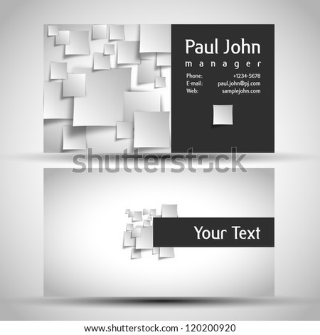Vector business-card front and back - stock vector
