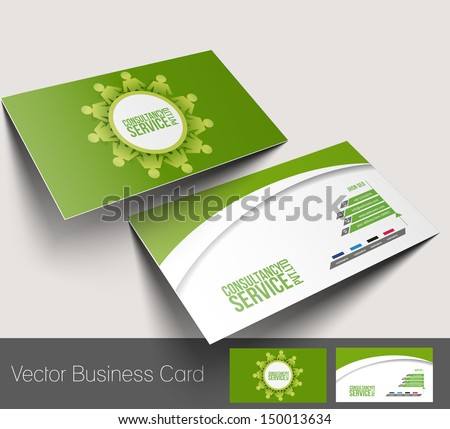 Vector business card set, isolated with soft shadow design  - stock vector