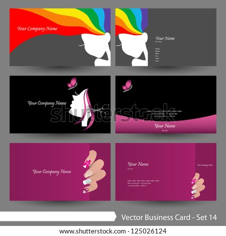 Vector business card template set: beauty salon, manicure salon, hair salon, woman & clean theme business card template (Part 14) - stock vector