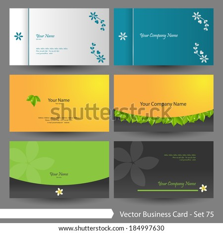 Vector business card template set: Clean, floral, nature and spa graphic design elements for cards & background (Part 75) - stock vector