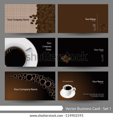Vector business card template set coffee stock vector royalty free vector business card template set coffee theme business card template part 6 wajeb Gallery