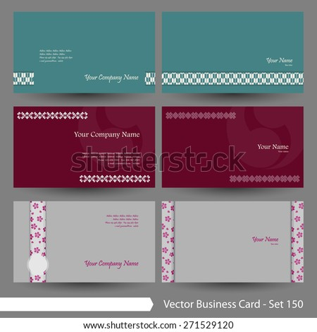 vector business card template set japanese stock vector 212415874