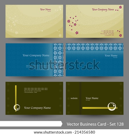 vector business card template set japanese stock vector 214356580