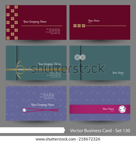 vector business card template set japanese stock vector 218672326
