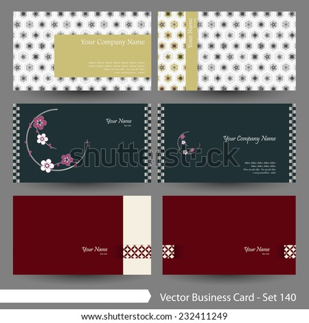 vector business card template set japanese stock vector 232411249