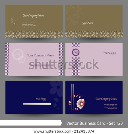 Vector business card template set: Japanese, oriental and Kimono pattern, Japanese food graphic design elements for cards & background (Part 123) - stock vector