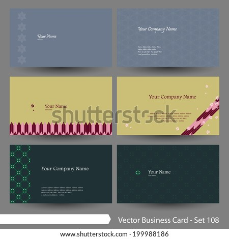 vector business card template set japanese stock vector 199988186
