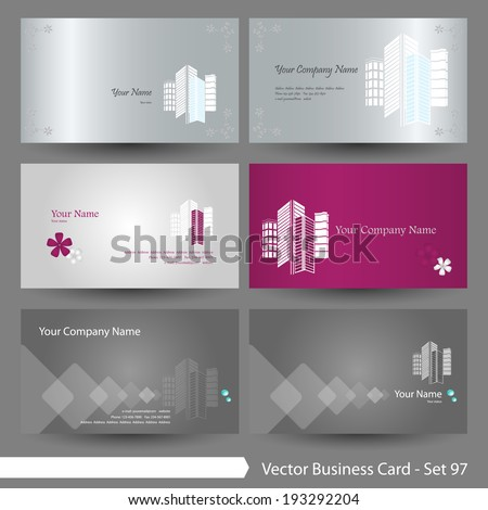 Vector business card template set: Real estate, building, corporate and elegant house graphic design elements for cards & background (Part 97) - stock vector