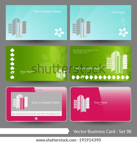 Vector Business Card Template Set Real Estate Building Corporate Elegant House And