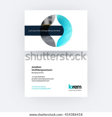 Vector business card template with circle geometric shape and overlap effect for business books with industrial and science concept. Simple and clean design. Creative corporate identity layout. - stock vector