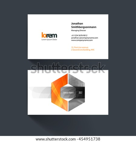 Vector business card template with hexagon geometric shape and overlap effect for business books with industrial and science concept. Simple and clean design. Creative corporate identity layout. - stock vector