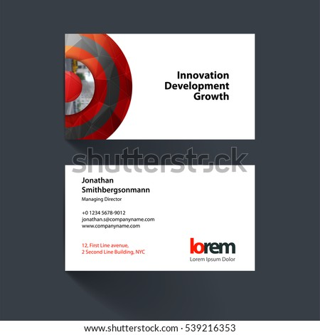 Vector business card template red half stock vector hd royalty free vector business card template with red half target rainbow circles rounds for it accmission Choice Image