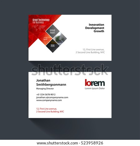 Vector business card template red rectangles stock vector royalty vector business card template with red rectangles squares diagonal house window for real estate reheart Image collections