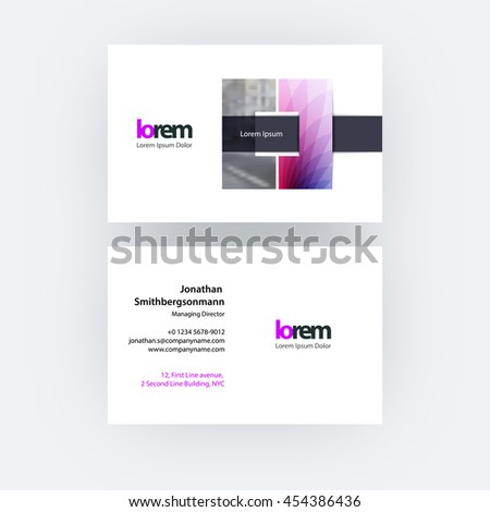 vector business card template square geometric stock vector