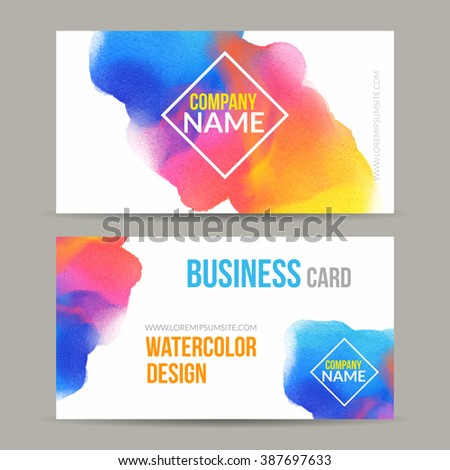 Vector business cards template watercolor paint stock vector hd vector business cards template with watercolor paint abstract background business card mockup flashek
