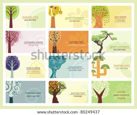 Vector business cards with stylized trees, related to green and ecology concepts. - stock vector