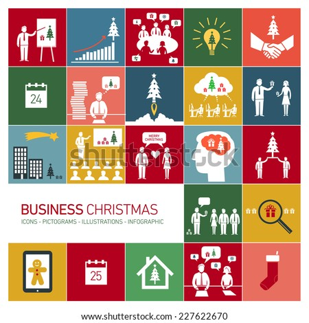 Vector business Christmas icons set of people in different funny situations in office | flat design pictograms illustration and infographics isolated on colorful background - stock vector