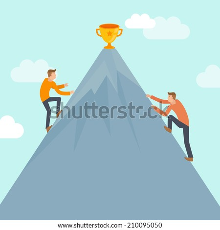 Vector business competition concept in flat style - business man climbing up the mountain to achieve success - stock vector
