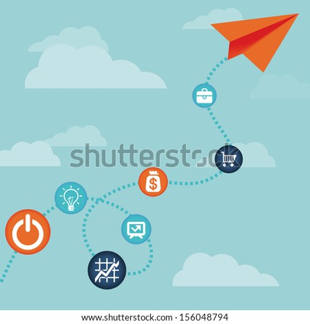 Vector business concept -flying  paper plane  and finance icons - stock vector