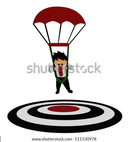 Vector - Business concept.He focused on a target with parachute. - stock vector