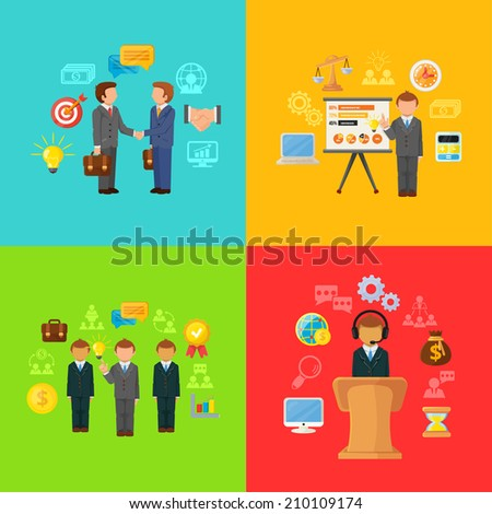 Vector Business Concept Icons Set of Partnership - stock vector