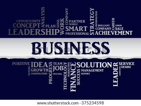 Vector business concept related words in tag cloud isolated with different association business terms. The effect of torn paper, silver letters on a blue background - stock vector