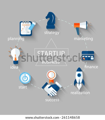 Vector business concept - start up infographic design elements in flat  style. - stock vector