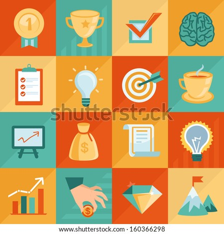Vector business concepts in flat retro style - start up signs and symbols - stock vector