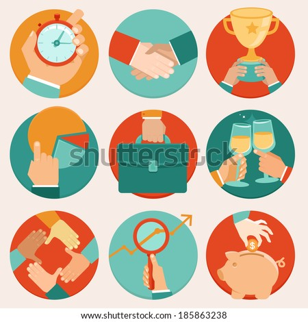 Vector business concepts in flat style - time management, statistics and research - stock vector