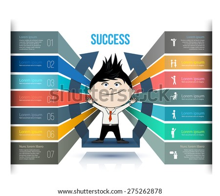 Vector business concepts with icons.Can use for infographic, loop business report or plan, modern template, education template, business brochure, system diagram. - stock vector