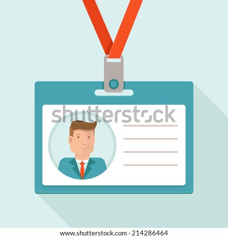 Vector business conference concept in flat style - id card for businessman and white background for text - stock vector
