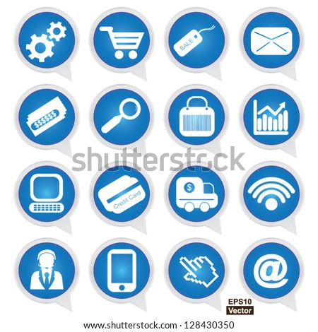 Vector : Business E-Commerce and Online Shopping Concept Present By Online Shopping Sign on Blue Icon Set Isolated on White Background - stock vector