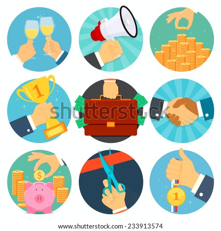 Vector business flat icons set - stock vector