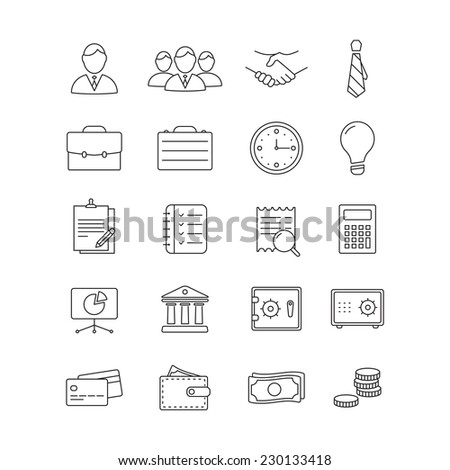 Vector Business flat minimalistic line icon set - stock vector