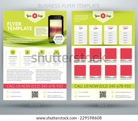 Vector business flyer or brochure design template. For mobile application or online shop - stock vector