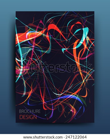 vector business flyer template or corporate banner design with neon wave on a dark background  - stock vector