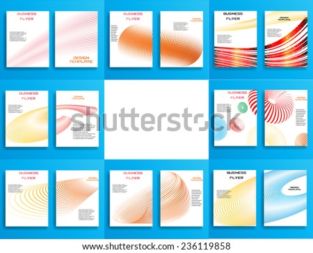 Vector Business Flyer Template or Corporate Design . Brochure Design Template . Abstract Modern Background . Unusual Curved Lines on White Background .  - stock vector
