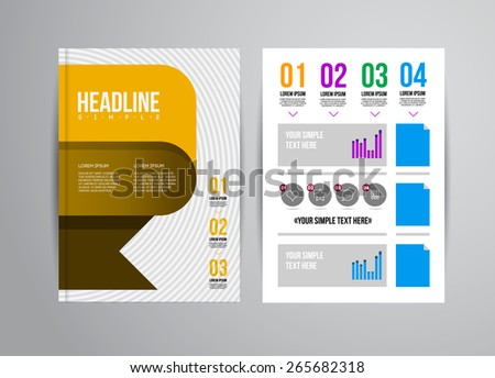 Vector business flyer template with infographic and place for photo. Abstract illustration for brochure or magazine. - stock vector