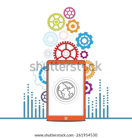 vector business global mobile signal, communication technology, internet of things - stock vector