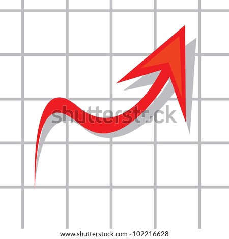 vector business graph showing profits and gains. - stock vector