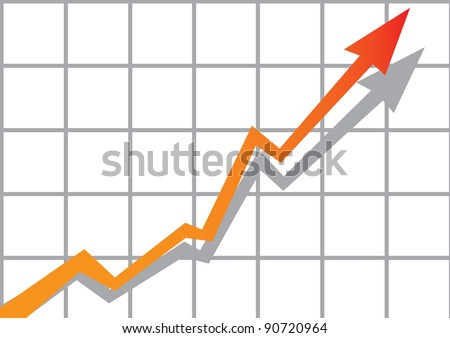 vector business graph with arrow showing profits and gains. - stock vector