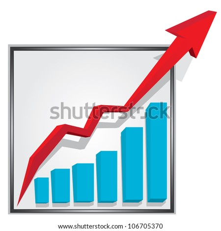 vector business graph with arrow showing profits and gains. vector business background - stock vector